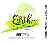 happy earth day poster or... | Shutterstock .eps vector #621357485