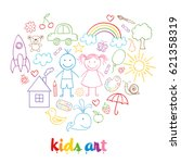 set of isolated child drawings  ... | Shutterstock .eps vector #621358319