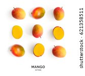 seamless pattern with mango.... | Shutterstock . vector #621358511