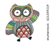 cute indian hand drawn owl...   Shutterstock .eps vector #621359219