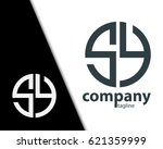 initial letter sy with linked... | Shutterstock .eps vector #621359999