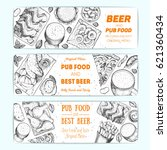 horizontal banner set for beer... | Shutterstock .eps vector #621360434