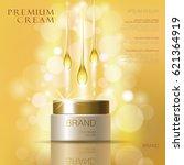 golden oil cosmetic cream skin... | Shutterstock .eps vector #621364919
