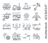 Set Of Thin Line Icons Airport...