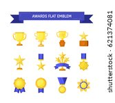 vector trophy  medals  cups and ... | Shutterstock .eps vector #621374081