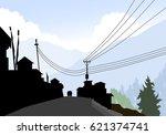 mountain road   village  vector | Shutterstock .eps vector #621374741
