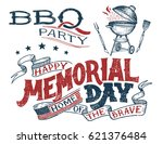 memorial day barbecue party... | Shutterstock .eps vector #621376484