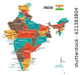 india map and flag   highly... | Shutterstock .eps vector #621383804