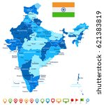 india map and flag   highly... | Shutterstock .eps vector #621383819