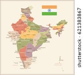 india vintage map and flag  ... | Shutterstock .eps vector #621383867
