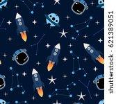 cosmic seamless vector pattern... | Shutterstock .eps vector #621389051