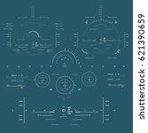 futuristic blue virtual graphic ... | Shutterstock .eps vector #621390659