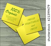 four yellow stickers with... | Shutterstock .eps vector #621399479
