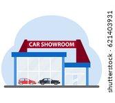 car showroom on a blue...