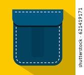 blue pocket icon. flat...   Shutterstock .eps vector #621419171