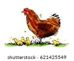 colored hand sketch hen with... | Shutterstock .eps vector #621425549