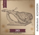 vintage jamon template placed... | Shutterstock .eps vector #621433034