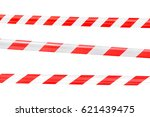 red and white barricade on... | Shutterstock . vector #621439475