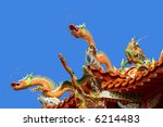 Chinese dragon on temple roof - stock photo