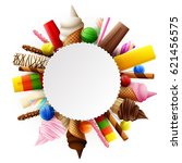 different sweet food round frame | Shutterstock .eps vector #621456575