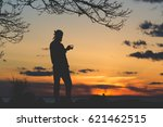 young man silhouette standing...   Shutterstock . vector #621462515