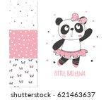 little panda ballerina. surface ...   Shutterstock .eps vector #621463637