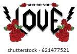 love rock vector print | Shutterstock .eps vector #621477521