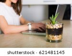 young pretty woman working at... | Shutterstock . vector #621481145