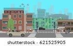 crossroads in the city street.... | Shutterstock .eps vector #621525905