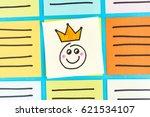 happy king emoticon note paper... | Shutterstock . vector #621534107