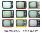 Small photo of Set of retro television - Old vintage TV isolate on white, retro technology.