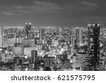 black and white  top view osaka ... | Shutterstock . vector #621575795