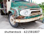 Vintage Rusty Green Truck Car...