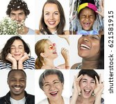 collage of people smiling... | Shutterstock . vector #621581915