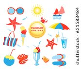 summer set with different... | Shutterstock .eps vector #621583484