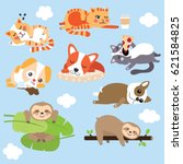 Stock vector cute lazy animals dogs cats sloths clouds vector 621584825