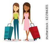 persons with suitcase travel | Shutterstock .eps vector #621586301