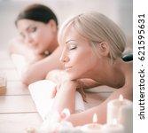 two young beautiful women... | Shutterstock . vector #621595631