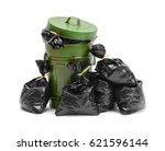garbage can and pile of trash... | Shutterstock . vector #621596144