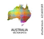 vector color map of australia ... | Shutterstock .eps vector #621603185