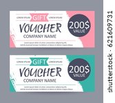 gift voucher template. discount ... | Shutterstock .eps vector #621609731