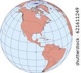 globe map centered on north... | Shutterstock .eps vector #621611249