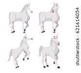horse white unicorn character... | Shutterstock .eps vector #621614054