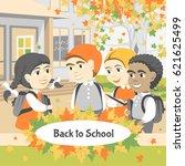 back to school. group of happy... | Shutterstock .eps vector #621625499