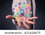 colorful multimedia icons in... | Shutterstock . vector #621626675