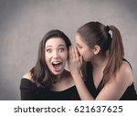 two fancy dressed actress girls ... | Shutterstock . vector #621637625