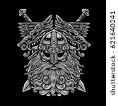 norse god odin with wolfs and... | Shutterstock . vector #621640241