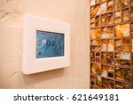 thermostat with lcd display of... | Shutterstock . vector #621649181