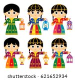 girls are wearing an old... | Shutterstock .eps vector #621652934