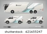 mockup of coach promo tour bus  ... | Shutterstock .eps vector #621655247